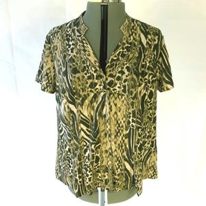 Short Sleeve Cheetah Leopard Animal Print Blouse